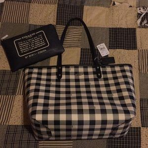 Coach Reversible City Tote Buffalo Plaid Gingham